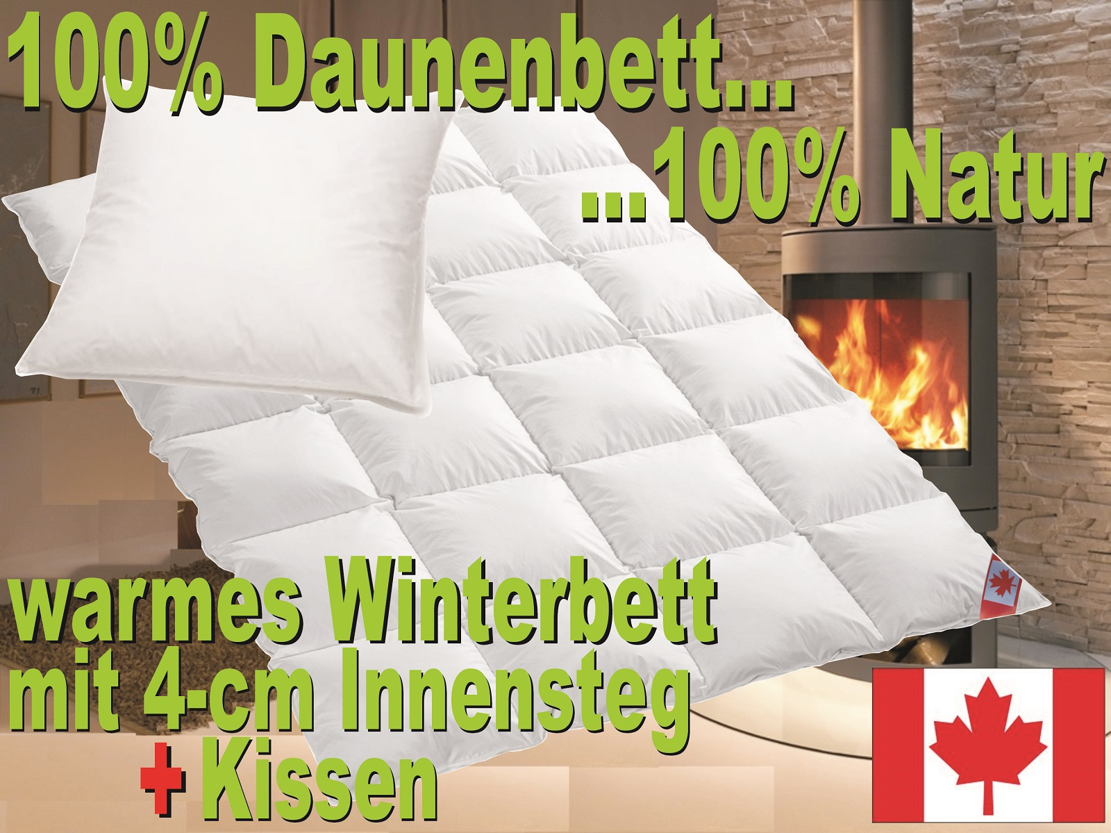 winter daunen kassettenstegbett daunendecke 100 natur daunenbett 135x200 kissen ebay. Black Bedroom Furniture Sets. Home Design Ideas